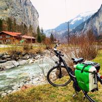Cycling through the Swiss mountainside