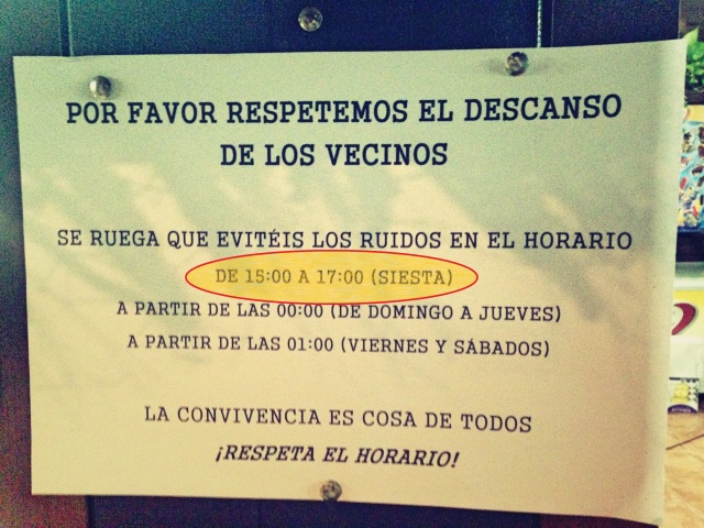 "Signs like these are common in Spanish neighbourhoods : ""Please respect the resting hours of the neighbours. We request you to avoid making noises in the hours of : Siesta"""