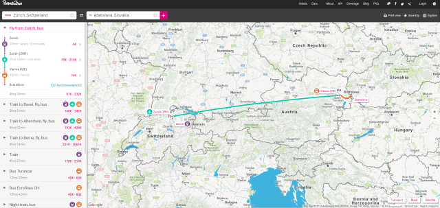 Journey options from Zurich, Switzerland to Bratislava, Slovakia